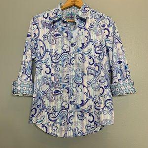 ROBERT GRAHAM | mixed print button front shirt xs